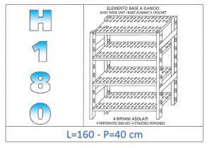 IN-18G47016040B Étagère avec 4 étagères à fentes crochet de fixation dim cm 160x40x180h