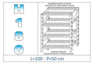IN-18G47010050B Étagère avec 4 étagères à fentes fixation par crochet dim cm 100x50x180h