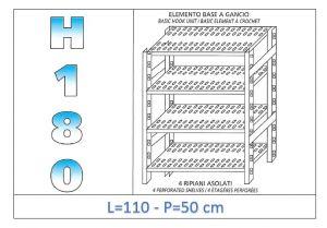 IN-18G47011050B Étagère avec 4 étagères à fentes crochet de fixation dim cm 110x50x180h