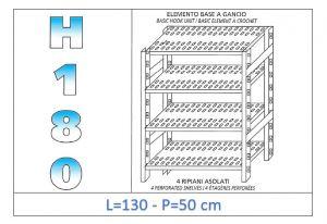 IN-18G47013050B Étagère avec 4 étagères à fentes fixation par crochet dim cm 130x50x180h