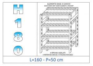IN-18G47016050B Étagère avec 4 étagères à fentes crochet de fixation dim cm 160x50x180h