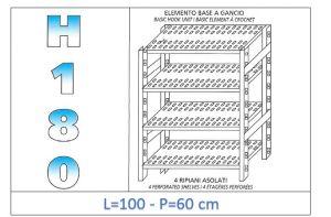 IN-18G47010060B Étagère avec 4 étagères à fentes fixation par crochet dim cm 100x60x180h