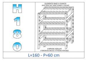 IN-18G47016060B Étagère avec 4 étagères à fentes crochet de fixation dim cm 160x60x180h