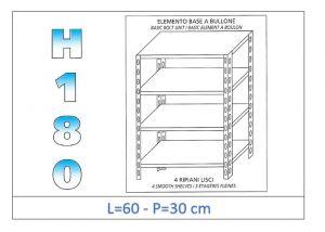 IN-184696030B Estante con 4 estantes lisos fijación de pernos dim cm 60x30x180h