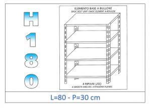 IN-184698030B Estante con 4 estantes lisos fijación de pernos dim cm 80x30x180h