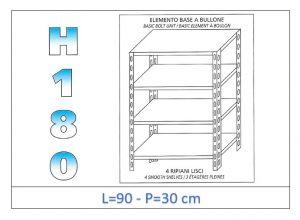 IN-184699030B Estante con 4 estantes lisos fijación de pernos dim cm 90x30x180h