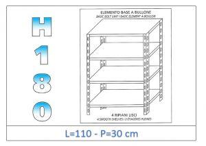 IN-1846911030B Estante con 4 estantes lisos fijación de pernos dim cm 110x30x180h