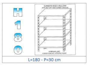 IN-1846918030B Estante con 4 estantes lisos fijación de pernos dim cm 180 x30x180h