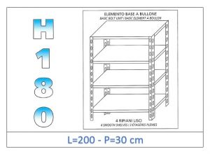 IN-1846920030B Estante con 4 estantes lisos fijación de pernos dim cm 200x30x180h