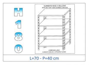 IN-184697040B Estante con 4 estantes lisos fijación de pernos dim cm 70x40x180h