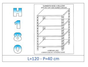 IN-1846912040B Estante con 4 estantes lisos fijación de pernos dim cm 120x40x180h