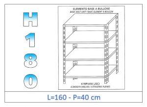 IN-1846916040B Estante con 4 estantes lisos fijación de pernos dim cm 160x40x180h