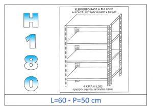 IN-184696050B Estante con 4 estantes lisos fijación de pernos dim cm 60x50x180h