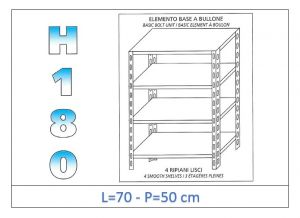 IN-184697050B Estante con 4 estantes lisos fijación de pernos dim cm 70x50x180h