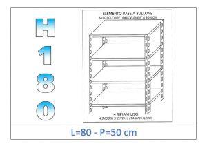 IN-184698050B Estante con 4 estantes lisos fijación de pernos dim cm 80x50x180h