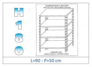 IN-184699050B Estante con 4 estantes lisos fijación de pernos dim cm 90x50x180h