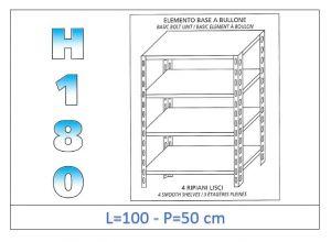 IN-1846910050B Estante con 4 estantes lisos fijación de pernos dim cm 100x50x180h