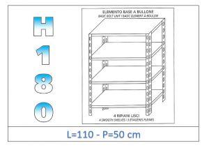 IN-1846911050B Scaffale a 4 ripiani lisci fissaggio a bullone dim cm  110x50x180h