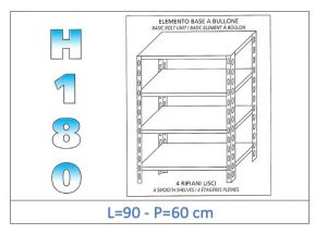 IN-184699060B Scaffale a 4 ripiani lisci fissaggio a bullone dim cm 90x60x180h
