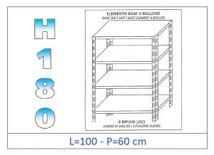 IN-1846910060B Estante con 4 estantes lisos fijación de pernos dim cm 100x60x180h