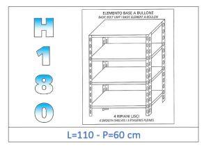 IN-1846911060B Estante con 4 estantes lisos fijación de pernos dim cm 110x60x180h