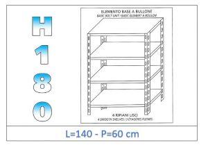 IN-1846914060B Estante con 4 estantes lisos fijación de pernos dim cm 140x60x180h