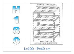 IN-1847010040B Scaffale a 4 ripiani asolati fissaggio a bullone dim cm 100x40x180h