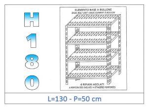 IN-1847013050B Scaffale a 4 ripiani asolati fissaggio a bullone dim cm 130x50x180h