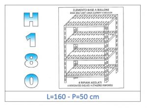 IN-1847016050B Estante con 4 estantes ranurados perno fijación dim cm 160x50x180h