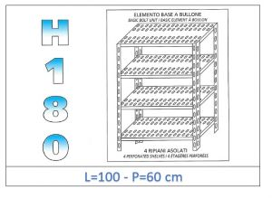IN-1847010060B Estante con 4 estantes ranurados perno fijación dim cm 100x60x180h