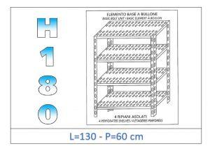 IN-1847013060B Estante con 4 estantes ranurados perno fijación dim cm 130x60x180h