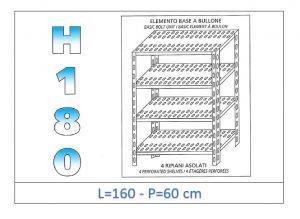 IN-1847016060B Estante con 4 estantes ranurados perno fijación dim cm 160x60x180h
