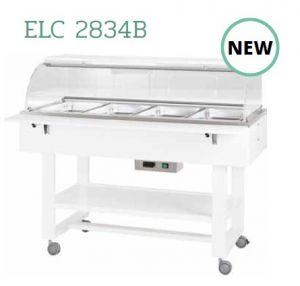ELC 2834B Hot display case bain marie cart wood (+30°+90°C) 4x1/1GN - WHITE