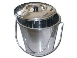 GI-26576 - CESTINO ACCIAIO INOX con coperchio - 12 litri