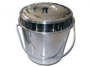 GI-26577 - CESTINO ACCIAIO INOX con coperchio - 15 litri