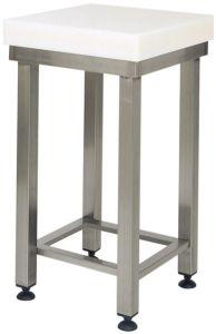 CCP8003 Bloc en polyéthylène de 8 cm avec tabouret en acier inoxydable 60x60x88h