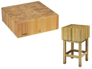 TCCL 1744 Ceppo legno professionale spessore 17cm con sgabello 40x40x90h