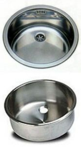 LV042/A round inset stainless steel sink diam. 420x180h With waste fitting