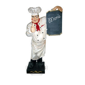 SR002 Chef de cuisine en fibre de verre avec tableau 140 cm de hauteur
