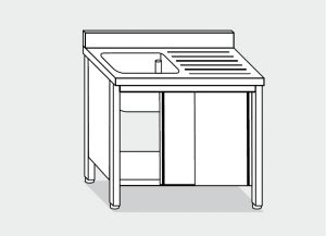 LT1002 Wash Cabinet on stainless steel