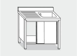 LT1007 Wash Cabinet on stainless steel