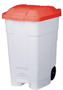 T102047 Mobile plastic pedal bin White Red 70 liters (multiple 3 pcs)