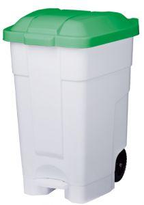 T102048 Contenitore mobile a pedale plastica bianco-verde 70 litri (confezione da 3 pezzi)