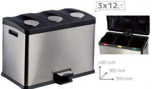 T106500 Pattumiera a pedale raccolta differenziata TRIPLA 3x12 litri