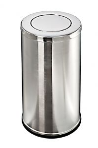 T106081 Papelera de acero inox con tapa basculante 36 liters