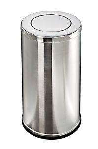 T106091 Corbeille à papier en acier inox avec couvercle basculant 52 litres