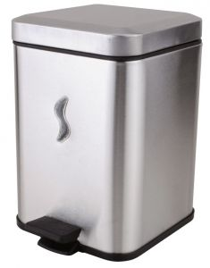 T101059 5 Lt brushed s. steel Pedal waste bin