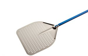 A-37RF-200 Pizza peel in anodized aluminum perforated rectangular 36x36 cm with handle 200 cm