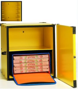 BP33CR Caja para pizza aislada 2 bolsas térmicas ø 33 cm o 10 cajas de ø 40 cm