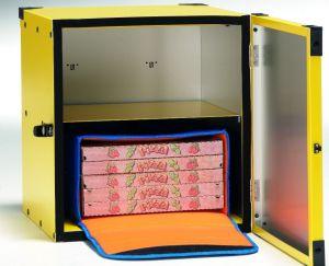 BP4060R Caja para pizza sin aislamiento, estante central para 2 neveras portátiles de 40x60 cm